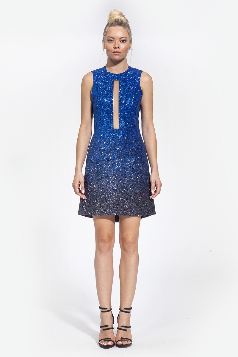 3κωδικός 3003 - 339€ - φόρεμα κοντό με διαφάνεια στο κέντρο μπλε μαύρο (1)