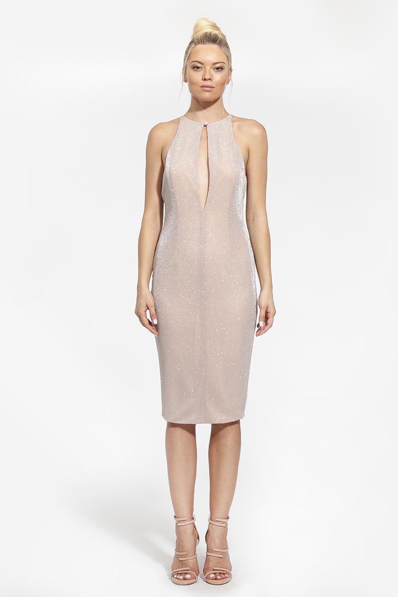 7- κωδικός 1004 - 303€ - φόρεμα midi με άνοιγμα στο κέντρο ροζ (1)