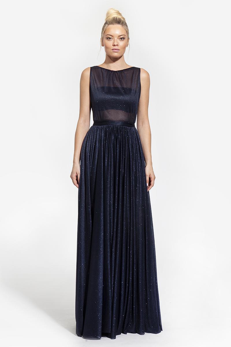 12-3001-φόρεμα maxi με σούρες στη μέση και διάφανο μπούστο σε χρώμα midnight - 312 (1)