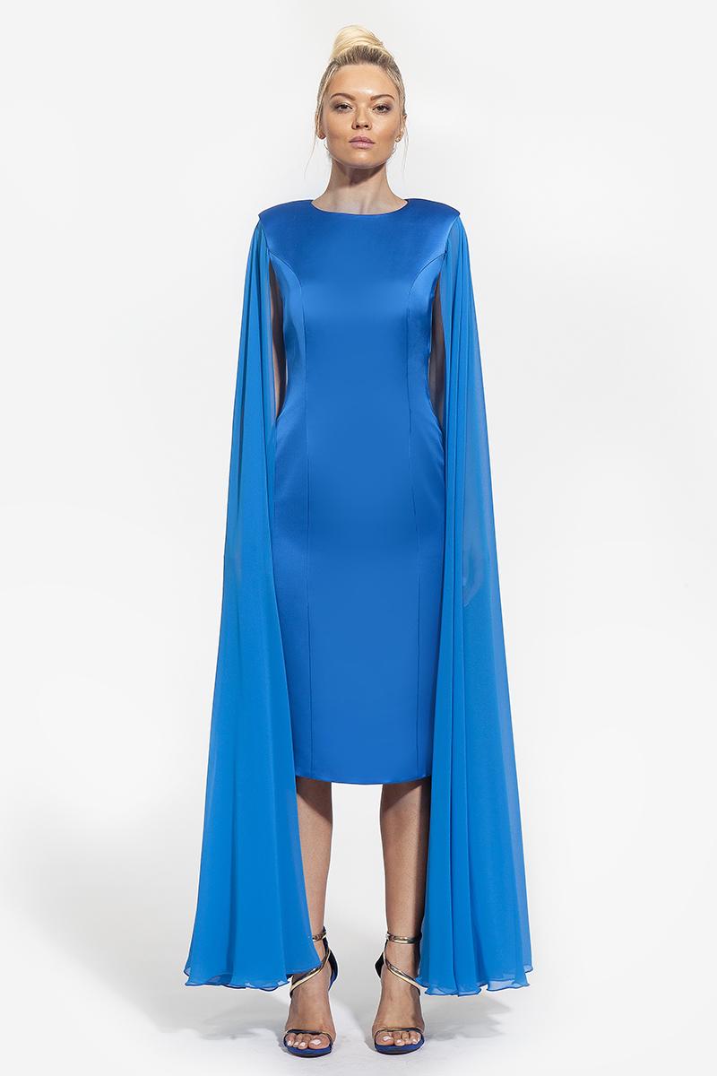14- 3007 - φόρεμα μετάξι με μακρυά αέρινα μανίκια σε χρώμα μπλέ και λευκό -363(1)