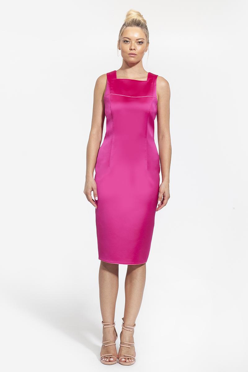 15- 3007 - φόρεμα midi με λεπτομέρειες στο μπούστο φούξια και μπλε -303(5)
