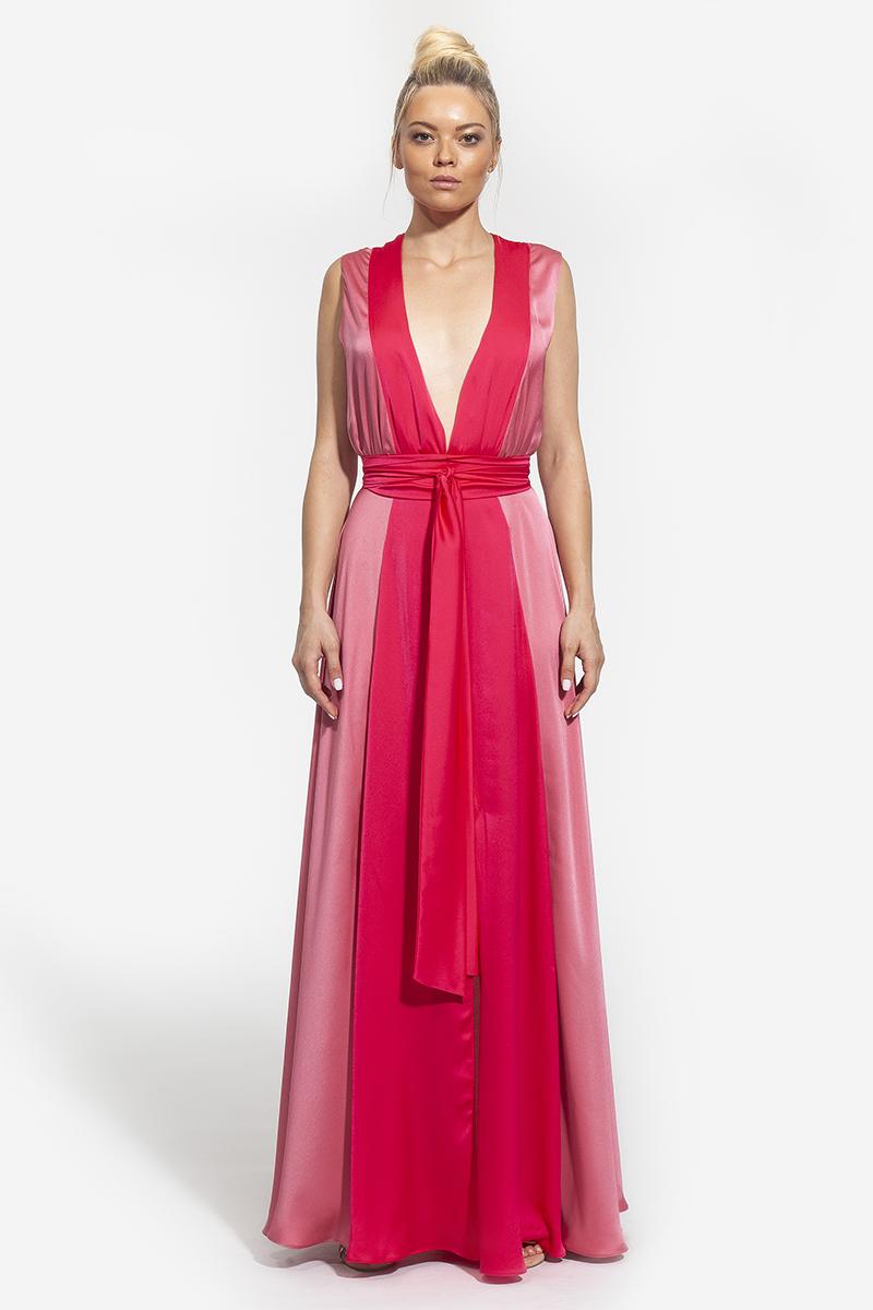 19 - 1009 - φόρεμα maxi με ζώνη - 387(1)