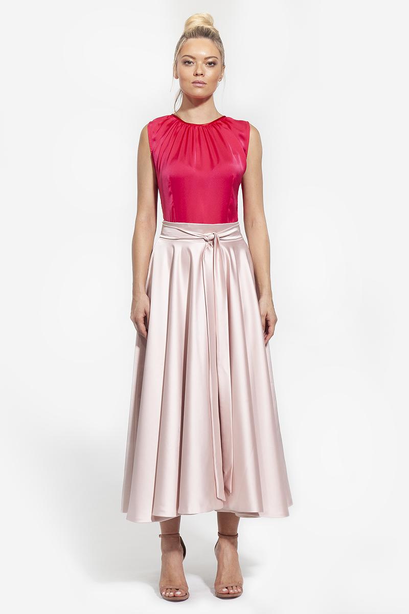 22- 3009 - φούστα με ζώνη σε πουδρα και μπλε χρώμα - 267 (2)
