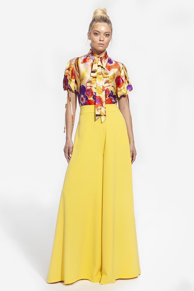24 - 2010 - πουκάμισο φλοράλ με μάο γιακά και πιέτες στα μανίκια -225 ---- 25 - 4004 παντελόνα σε κίτρινο χρώμα 267 (1)