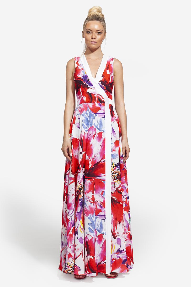 27 -- 2007 - floral φόρεμα κρουαζέ maxi -- 357 (2)