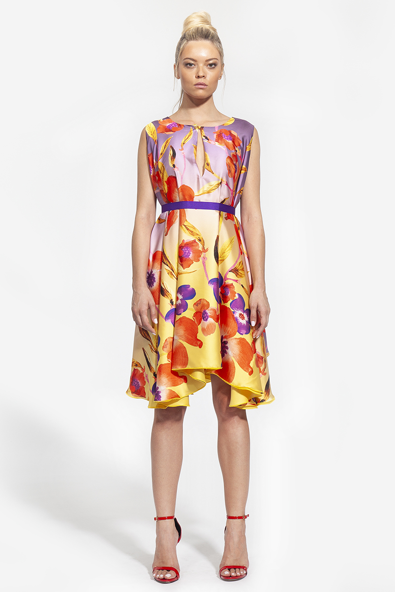 29 -- 3004 - φόρεμα κοντό που μπορεί να φορεθεί και από την μέσα πλευρά φλοράλ και κίτρινο -- 333 (1)
