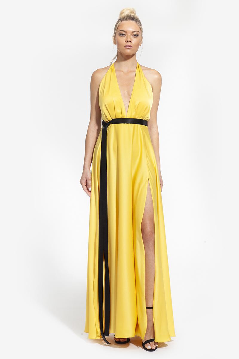 33 -2004 - φόρεμα με σκίσιμο στα πόδια και δέσιμο στο λαιμό σε κίτρινο και φούξια χρώμα - 363 (1)